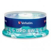 Verbatim 2x DVD-RW Media 30 Pack Spindle 120 minutes or 4.7GB Per Disk 95179 NEW